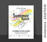 summer beach party flyer ... | Shutterstock .eps vector #632670140