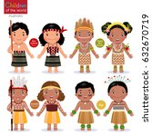 kids in different traditional... | Shutterstock .eps vector #632670719