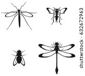 set of flying insects | Shutterstock .eps vector #632672963
