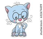 cute drawing blue kitten...   Shutterstock .eps vector #632674499