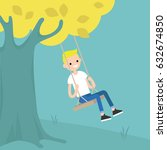 young blond boy sitting on the... | Shutterstock .eps vector #632674850
