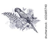 parrot  exotic fruits  flowers... | Shutterstock .eps vector #632685740
