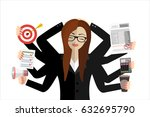 happy business woman with many... | Shutterstock .eps vector #632695790