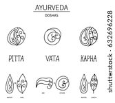 ayurvedic elements and doshas... | Shutterstock .eps vector #632696228