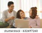 friends watching something... | Shutterstock . vector #632697260