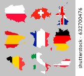 9 Europian Flag Maps Set