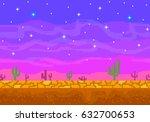 pixel art sunset in the desert. ...   Shutterstock .eps vector #632700653