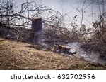fire in the forest on the lake | Shutterstock . vector #632702996