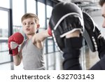 young boy boxer practicing... | Shutterstock . vector #632703143