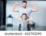 boy with young man  his trainer ... | Shutterstock . vector #632703290