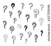hand drawn vector question mark ... | Shutterstock .eps vector #632705048