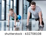 man and boy doing push ups at... | Shutterstock . vector #632708108