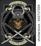 samurai skull  | Shutterstock .eps vector #632717204