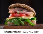 sandwich with salad  ham ... | Shutterstock . vector #632717489