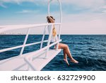 young woman sitting on the ship ... | Shutterstock . vector #632729900