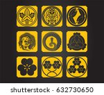 japanese patterns and symbols | Shutterstock .eps vector #632730650
