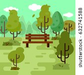 wooden bench under the trees in ... | Shutterstock .eps vector #632741588