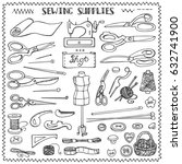 sewing and needlework doodle... | Shutterstock . vector #632741900