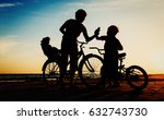 happy mother with kids biking... | Shutterstock . vector #632743730