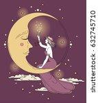 beautiful poster in art nouveau ... | Shutterstock .eps vector #632745710