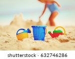 kids toys and little girl... | Shutterstock . vector #632746286
