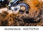 close up of motocross wheel  | Shutterstock . vector #632752910