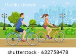 couple riding bicycles in... | Shutterstock .eps vector #632758478