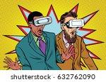 two men in vr glasses scared... | Shutterstock .eps vector #632762090