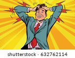businessman panic head hand ... | Shutterstock .eps vector #632762114