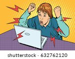 angry teenager sitting at... | Shutterstock .eps vector #632762120