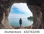 tourist stand in the cave  sea...   Shutterstock . vector #632762240
