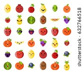 cute emoji smile fresh fruit... | Shutterstock .eps vector #632766518