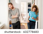 couple having arguments at home ... | Shutterstock . vector #632778683