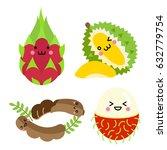 set of cute fruit.dragon fruit  ... | Shutterstock .eps vector #632779754