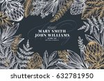 floral wedding invitation card. ... | Shutterstock .eps vector #632781950