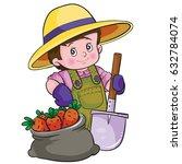 Boy Dressed As A Farmer  Vector