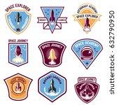 space camp emblems. rocket... | Shutterstock .eps vector #632790950