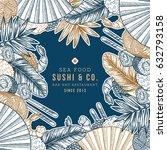 sushi restaurant design... | Shutterstock .eps vector #632793158