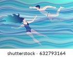 young couple swimming in the... | Shutterstock .eps vector #632793164