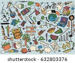 hand drawing doodle  vector... | Shutterstock .eps vector #632803376