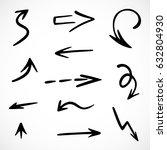 hand drawn arrows  vector set | Shutterstock .eps vector #632804930