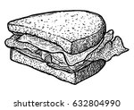 sandwich illustration  drawing  ... | Shutterstock .eps vector #632804990