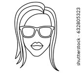 woman with sunglasses icon | Shutterstock .eps vector #632805323