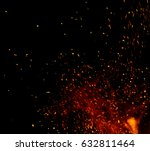 fire flames with sparks on a... | Shutterstock . vector #632811464