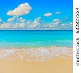 bright sunny yellow sand beach... | Shutterstock . vector #632827334