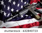 flag of the usa with rifle | Shutterstock . vector #632840723