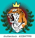 portrait of a tiger with a...   Shutterstock .eps vector #632847998