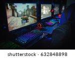 computer gamer  in internet cafe   Shutterstock . vector #632848898