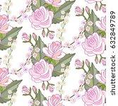 roses flowers seamless pattern | Shutterstock .eps vector #632849789