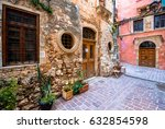 narrow street in the old town...   Shutterstock . vector #632854598